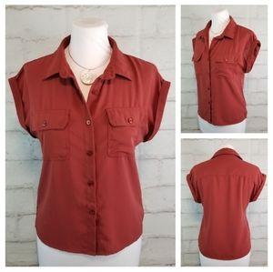 Japna S Rust Brown Cap Sleeve Button-Down Blouse